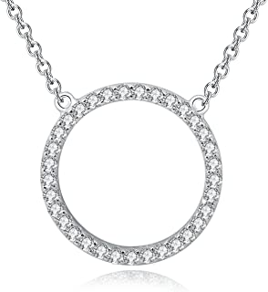 YAN & LEI Sterling Silver Cubic Zirconia CZ Open Triangle Pendant Necklace