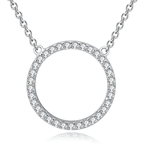 be159b76e YAN & LEI Sterling Silver Cubic Zirconia CZ Open Triangle Pendant Necklace