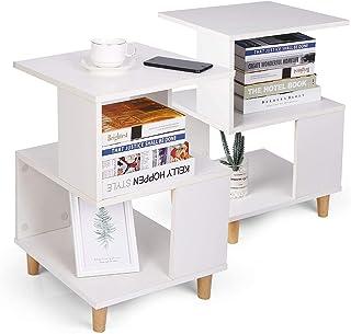 Table de Chevet, 2 Tables de Chevet Modernes, avec Espace de Rangement, Robustes et Durables, Pieds en Bois Massif, Plan d...