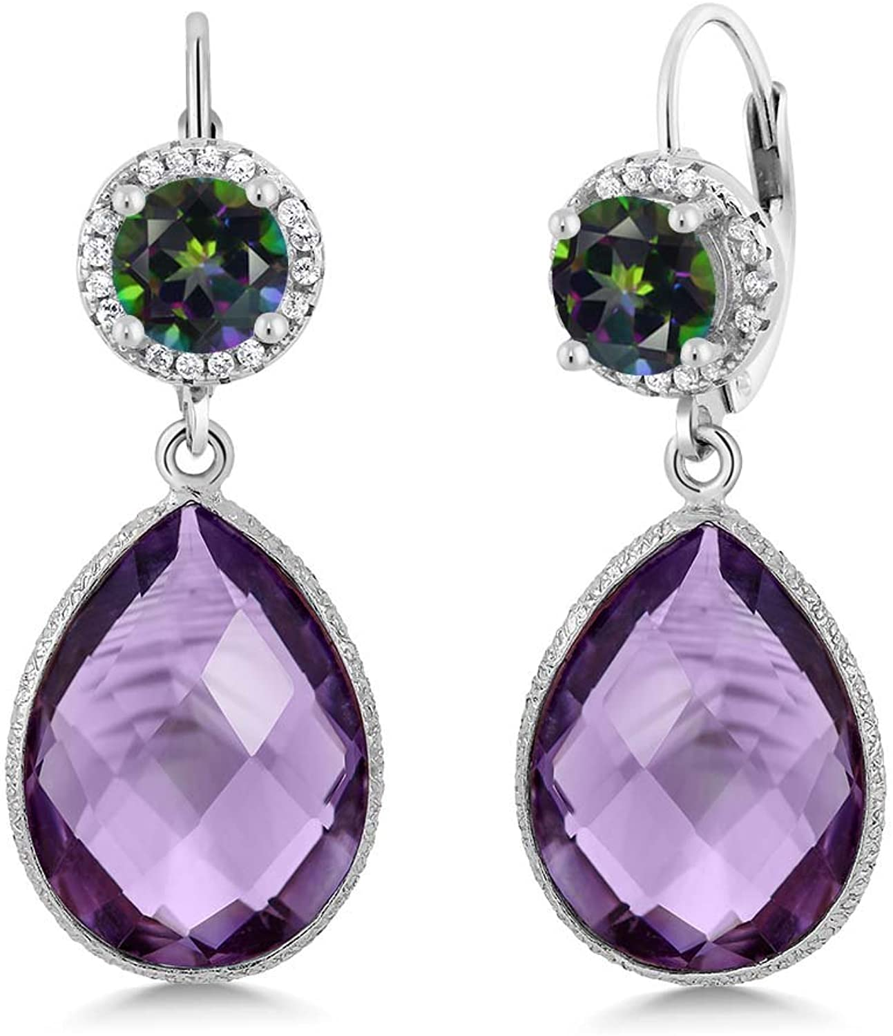 2.00 Ct Round Green Mystic Topaz Amethyst 925 Sterling Silver Earrings