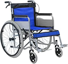 Lightweight Wheelchair - Foldable Easy to Carry Potty Elderly Disabled Anti-Slip Pedal Push-Type Self-Propelled Walker (Color : Blue)