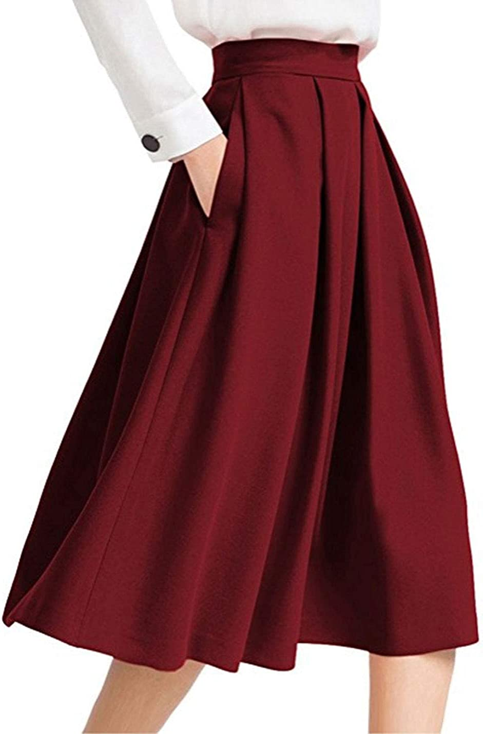 D.B.M Ladies Casual Mid-Length Invisible Pocket High Waist A-line Pleated Skirt