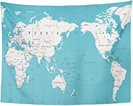 Tarolo Decor Wall Tapestry Blue Outline Vintage Political World Map Pacific Centered Africa Asia 60 x 50 Inches Wall Hanging Picnic for Bedroom Living Room Dorm