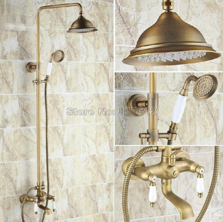 Luxurious shower Messing antik Wand montiert Regendusche Set Wasserhahn Wandhalterung Keramik Griffe Badewanne Mixer mit abnehmbarem Duschkopf Wrs 144, gelb Tippen