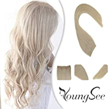 Youngsee 22inch Remy Blonde Human Hair Halo Extensions Color #60 Platinum Blonde Hidden Halo Couture Hair Extensions Headbands for Women 11