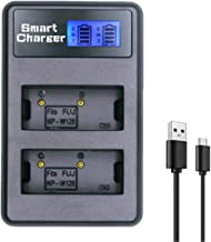 NP-W126 Battery Charger, Dual USB LCD Charger Compatible with Fujifilm NP-W126S Fuji X-T1 X-T2 X-T10 X-T20 X100F X-Pro1 X-Pro2 X-E2 FinePix HS30EXR HS35EXR HS50EXR Fuji X-A1 X-A2 X-A3 X-E1 X-E2S X-M1