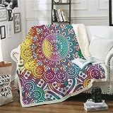 Xzfddn Mandala Manta mullida de flores de colores sherpa bohemia ropa de cama niña arco iris manta para camas