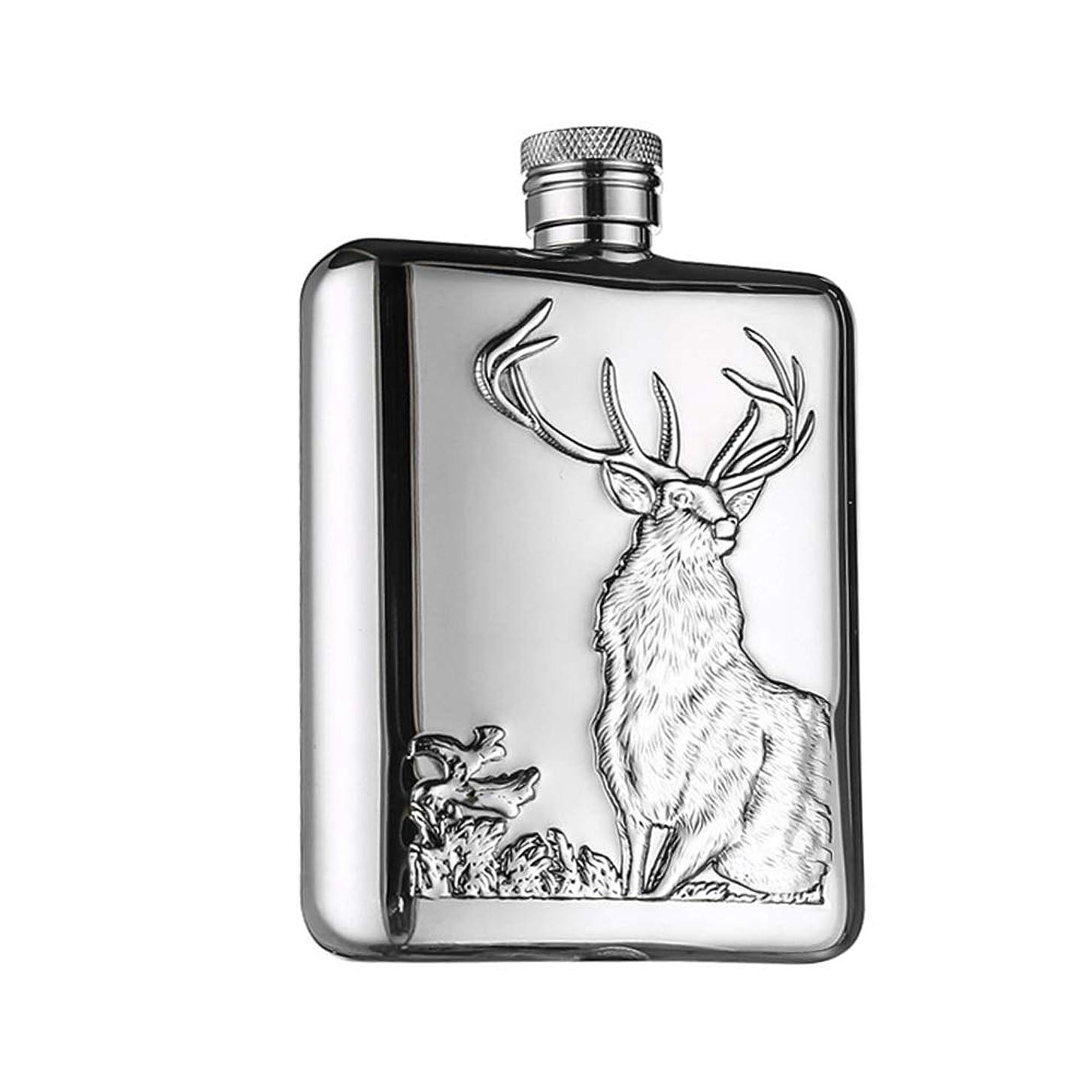 威する曖昧なとしてフラスコ スキットル 6オンスステンレス鋼のヒップフラスコ最高のウイスキーの酒は、漏れ防止設計スリムでエレガントなポケットシルバー花婿の付添人のギフトに落ちるのは簡単です 飲料コンテナ (色 : Deer, Size : Free size)