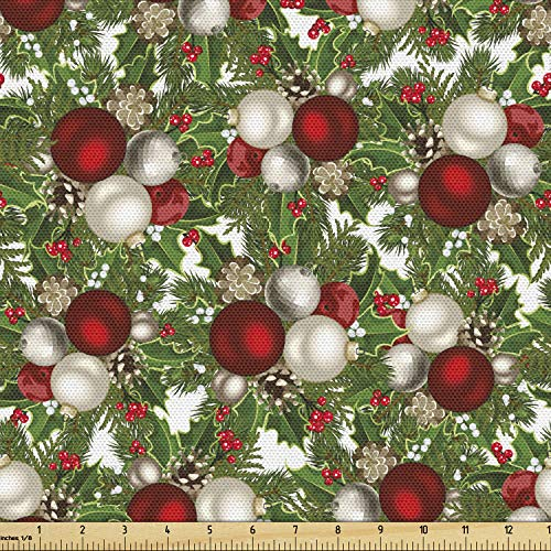 Ambesonne Christmas Fabric by The Yard, Pine Fir Cones Balls and Coniferous Tree Leaves Holly Berry Old Fashioned, Decorative Fabric for Upholstery and Home Accents, 1 Yard, Grey Green