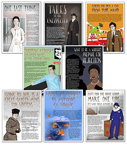 Famous Author Mini Educational Poster Series. English Literature Art Prints. Featuring: Kerouac, Vonnegut, Wheatley, Dickinson, Poe, Salinger, Shakespeare, more