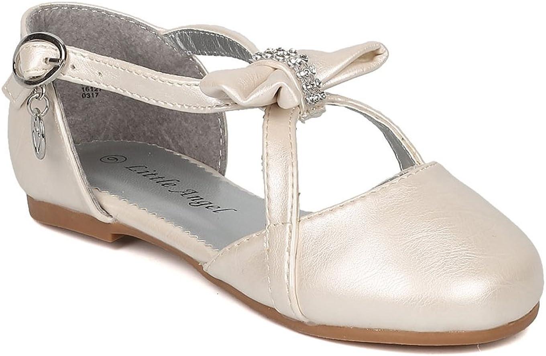 Alrisco Girls Rhinestone Bow Tie Charmed Key Hole Flat HB75 - Ivory Leatherette (Size: 7 Toddler)