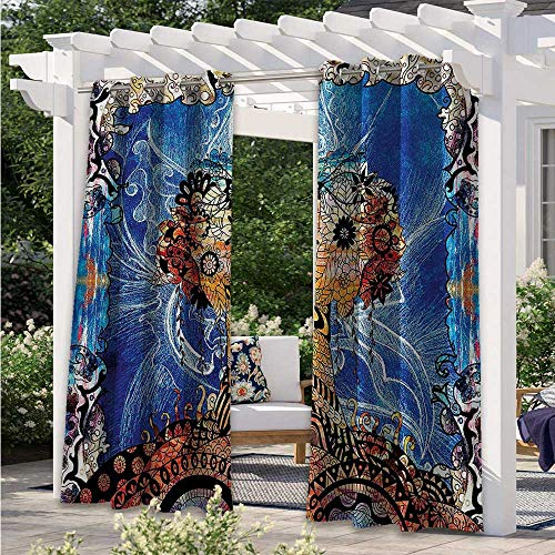 Print Curtains Indie Style Sketchy Retro Tree with Flower Forms on Paisley Backdrop Abstract Image Indoor Outdoor Blackout Privacy Curtain for Porch, Pergola, Cabana, Gazebo Blue Brown W108 x L84 Inch