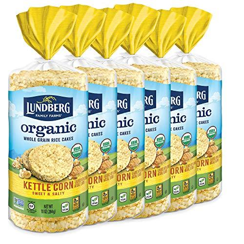 Lundberg Organic Brown Rice Cakes, Kettle Corn, 10 oz (Pack of 6), Gluten-Free, Vegan, Healthy Snacks