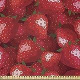ABAKUHAUS rot Microfaser Stoff als Meterware, Erdbeeren