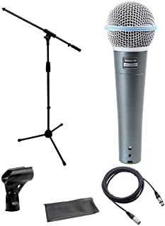 Shure Beta 58a Microphone Bundle with Mic Boom Stand and XLR Cable bundle