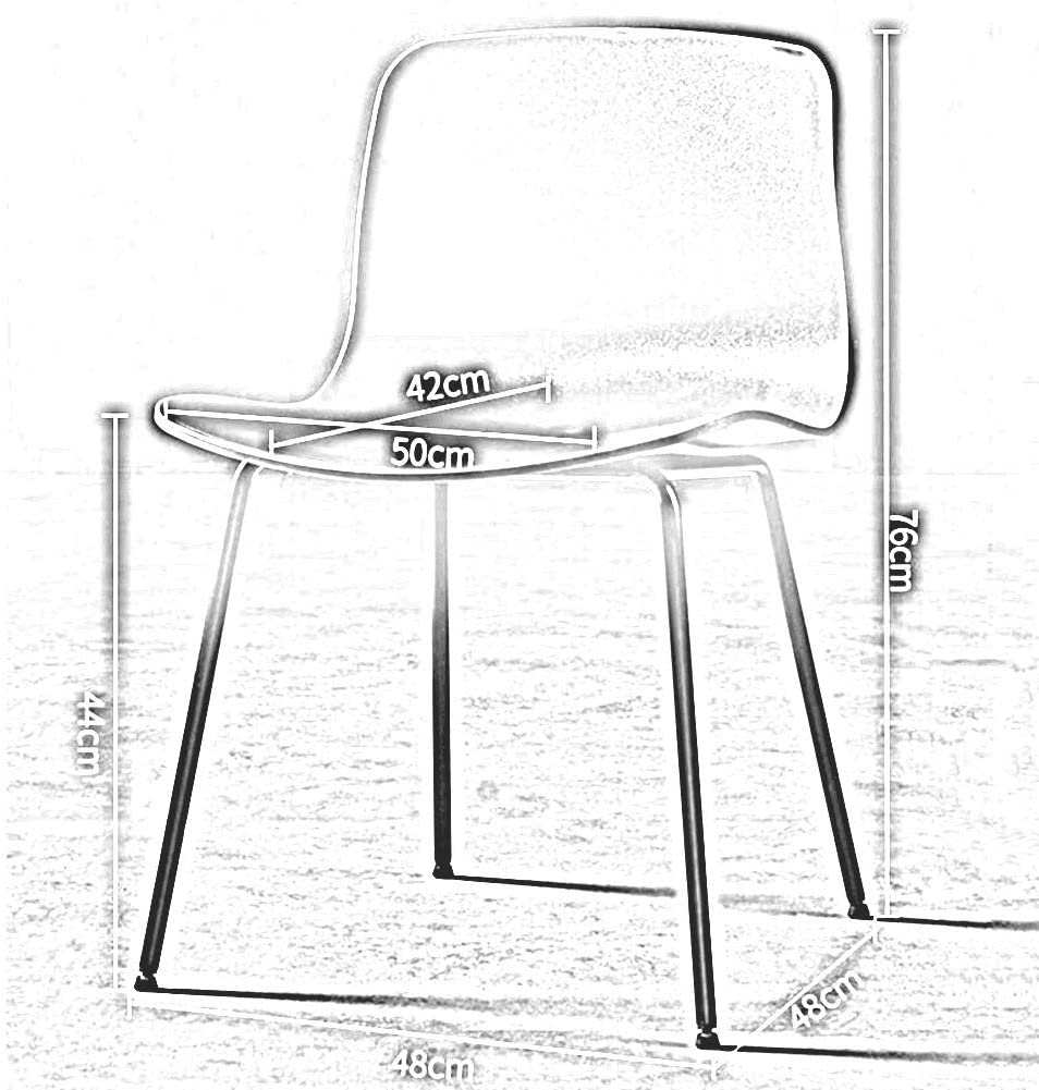 DALL Chaises De Salle À Manger Moderne Pattes en Métal Chaise De Table Siège en Plastique Chaise De Café Chaise De Réception Dossier Assemblée (Color : Green) White
