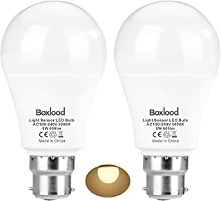 Sensor Lights Bulb Dusk to Dawn LED Light Bulbs Smart Lighting Lamp 9W B22 Base Automatic On/Off, Indoor/Outdoor Yard Porc...