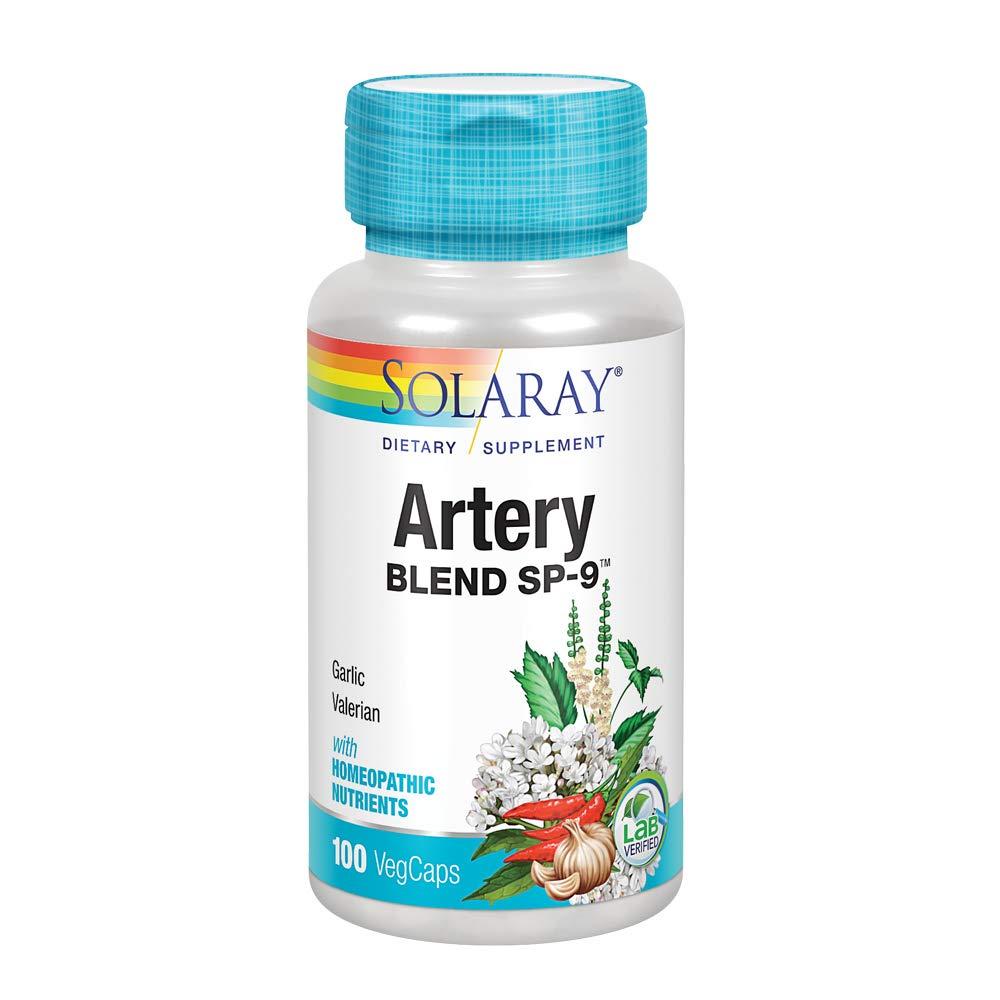 Solaray Artery Blend SP-9 | Herbal Blend w/Cell Salt Nutrients to Help Support Healthy Arteries | Non-GMO, Vegan | 50 Servings | 100 VegCaps