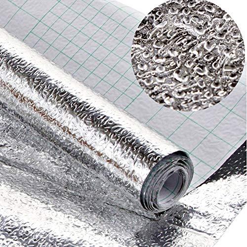 Gwolf Pegatinas de papel de aluminio Pegatina impermeable a prueba de aceite de cocina Pegatina de pared autoadhesiva de papel de aluminio, Forro metálico Estante de cocina, 40x200 cm