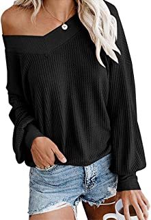 Blostirno Women's Off Shoulder Pullover Tops Casual V Neck Long Sleeve Waffle Knit Sweaters