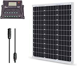 Renogy 50 Watt 12 Volt Monocrystalline Solar Bundle Kit with 10A PWM LCD Charge Controller
