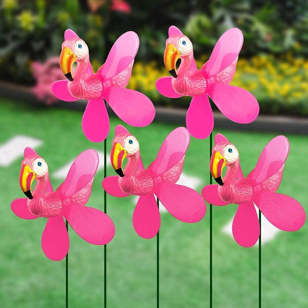 5 Pcs Wind Spinner Portland Mall Pinwheels Whirlig Stakes Metal Max 78% OFF Flamingo with