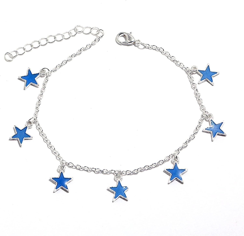 ZZ ZINFANDEL Star Moon Anklet Bracelet, Luminous Layered Star Beach Bracelet Anklet for Women and Girls