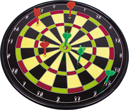 Dartboard / dartbord / darts - een geweldig spel voor jong en oud. Speels wordt overal: in de kinder- en woonkamer, in de badkamer en keuken, op de hal - slechts iets afstand tot de ruit is vereist. De schijf van kunststof houdt tussen de flexibele doornen de treffers vast. De zes pijlen hebben stompe punten die door middel van schroefdraad kunnen worden vervangen. Zes reservepunten zijn inbegrepen.