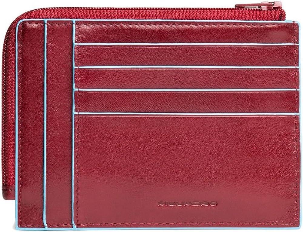 Piquadro blue square, portamonete con 8 alloggiamenti per carte di credito, unisex , in pelle, rosso PU1243B2R/R