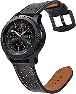 22mm Quick Release Watch Band, Fintie Genuine Leather Replacement Wrist Strap Bands with Metal Clasp Compatible with Samsung Galaxy Watch 46mm / Gear S3 Frontier Classic Smartwatch (Black)