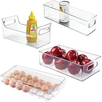 Ideale come contenitore pappa neonato mDesign contenitore frigo per alimenti con coperchio trasparente Organizer frigorifero per mantenere al fresco il cibo anche per il congelatore