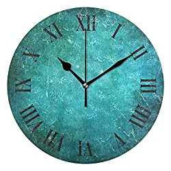 ABLINK Vintage Grunge Turquoise Space Round Acrylic Wall Clock, Silent Non Ticking Oil Painting Home Office School Decorative Clock Art