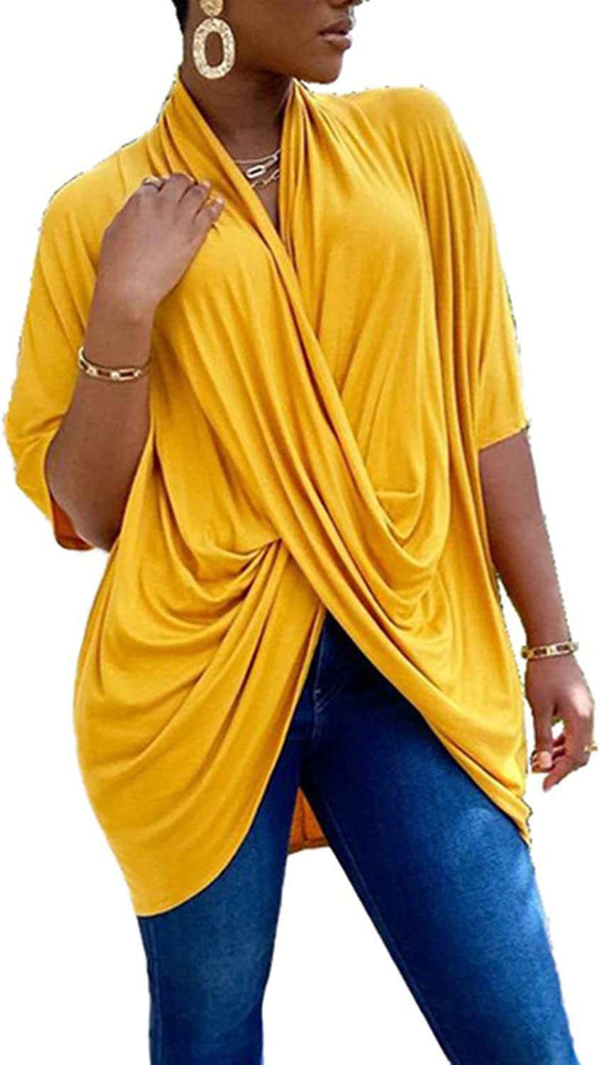 Women Wear to Work Top - Short Sleeves Wrap Front Solid Color Draped Shirt Blouse