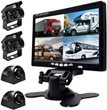"$139 » Backup Camera Monitor Kit Split Screen 7"" LCD Reversing Monitor, 4 Rear Backup Camera for Trucks/Bus/Trailer/Campers, 170°..."