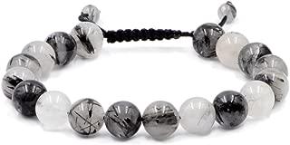 AD Beads Natural 10mm Gemstone Bracelets Healing Power Crystal Macrame Adjustable 7-9 Inch (Rutilated Quartz)