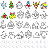 WILLBOND 24 Pieces Christmas Suncatchers Craft Kits Assorted Sun Catcher Kit Suncatchers Craft Art Window Suncatchers Kits with 24 Pieces Suction Cups for Crafts Home Decor Supplies (Christmas Theme)