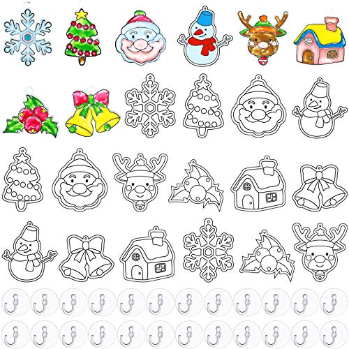 WILLBOND 24 Pieces Suncatchers Craft Kits Assorted Sun Catcher for Art Window Suncatchers Kits with 24 Pieces Suction Cups for Painting Crafts Home Decor Supplies (Christmas Theme)