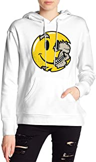 VJJ AIDEAR Smiley Face Skull Women's Sweater Printed Hoodied Long Sleeve Coat