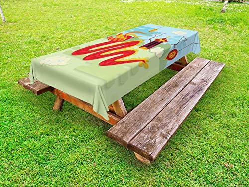 ABAKUHAUS Drachen Outdoor-Tischdecke, chinesischer Pavillon, dekorative waschbare Picknick-Tischdecke, 145 x 265 cm, Mehrfarbig