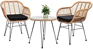 Casaria Conjunto de jardín BALI 3 piezas juego de 1 mesa y 2 sillas de mimbre para interior exterior jardín balcón terraza