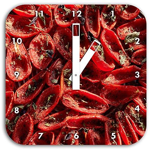 tomates séchées au basilic à l'huile d'olive et d'herbes, carré diamètre horloge murale de 28cm avec des mains blanches et le visage, des objets de décoration, Designuhr, composite aluminium très agréable pour séjour, bureau