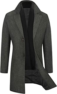 WULFUL Men's Slim Fit Wool Coat Winter Long Trench Coat with Free Detachable Soft Scarf