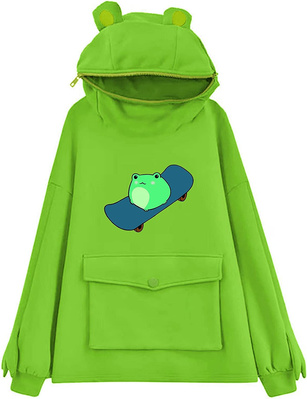 ORT Hoodies for Women, Cute Frog Sweatshirt for Womens Long Sleeve Hoodie Teen Girls Lovely Pullover Casual Funny Top