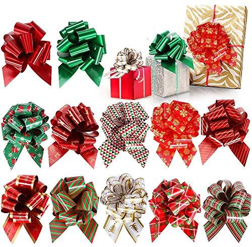 Tacobear 24 Stücke Geschenkband Bow Bogen Geschenkverpackung Rot Schleifenband Ziehschleife Geschenkschleife Ziehen Blume für Weihnachten Hochzeit Geburtstag Geschenke Zuckertüten Geschenkedekoration