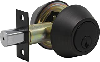 Probrico Double Cylinder Deadbolt Keyed on Two Sided Home Door Locking Security Round Knob Lock Oil Rubbed Bronze 1Pack