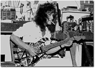 Wall decor Eddie Van Halen Poster 13x19 Inches | Ready to Frame for Office, Living Room, Dorm | Guitar Workshop 1980's