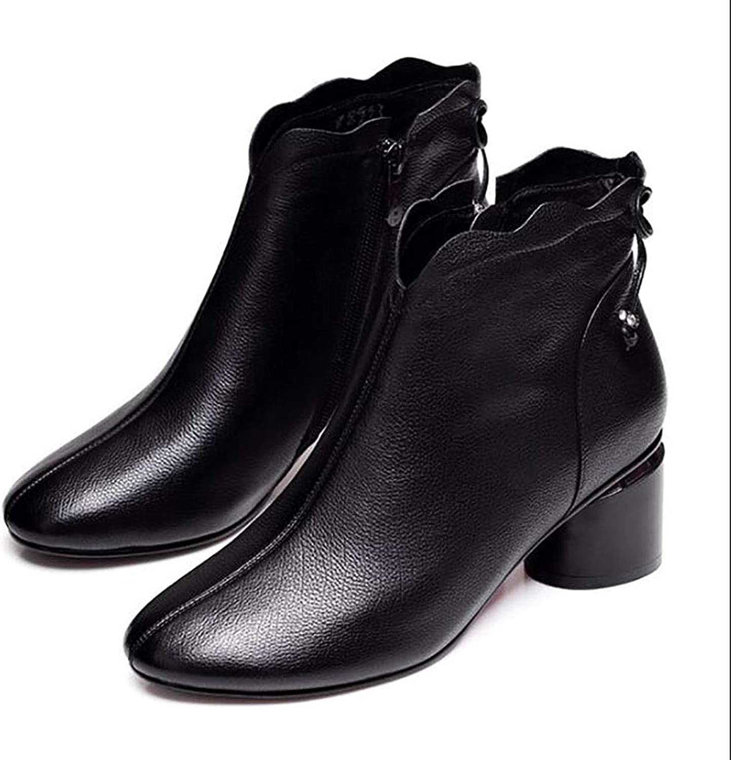 Women's shoes Winter Round Head Thick Heel Boots Women's Martin Boots mid Heel shoes Single Boots (color   Black, Size   39)