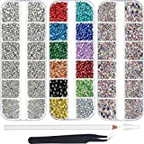 9000 Piezas Diamantes de Imitación de Hotfix de AB Transparente Cristal Piedra Preciosa Vidrio Redondo de Espalda Plana de 6 Tamaños 12 Colores sobre Hierro con Pinzas y 1 Bolígrafo