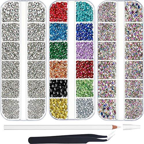 9000 Stück Strasssteine Hotfix Nail Art Strass AB 6 Größen 12 Farben mit Pinzette und Dotting Pen für DIY Nägel/Kleidun/Handwerk