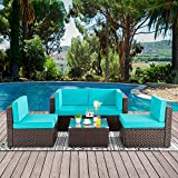 Walsunny 5pcs Patio Outdoor Furniture Sets,Low Back All-Weather Rattan Sectional Sofa with Tea Table&Washable Couch Cushions(Brown Rattan)(Blue)